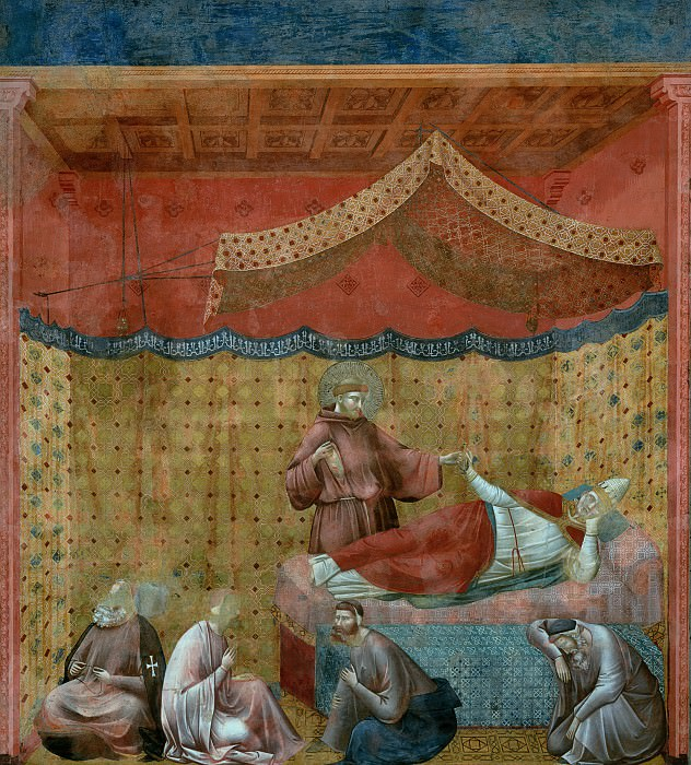 Legend of St Francis 25. Dream of St Gregory. Giotto di Bondone