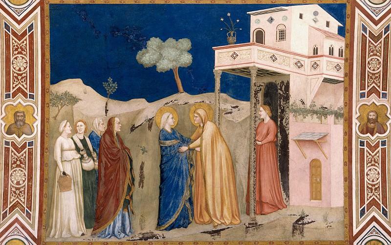 Фрески правого (северного) трансепта - Встреча Марии и Елизаветы. Джотто ди Бондоне
