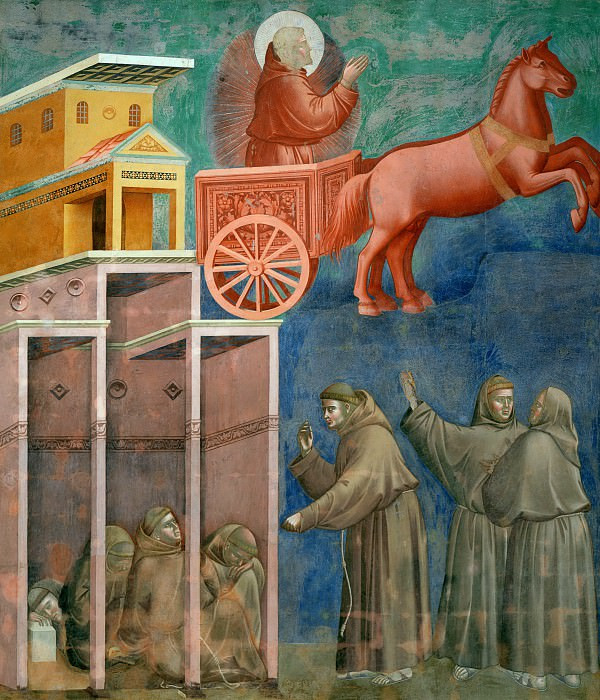 Legend of St Francis 08. Vision of the Flaming Chariot. Giotto di Bondone