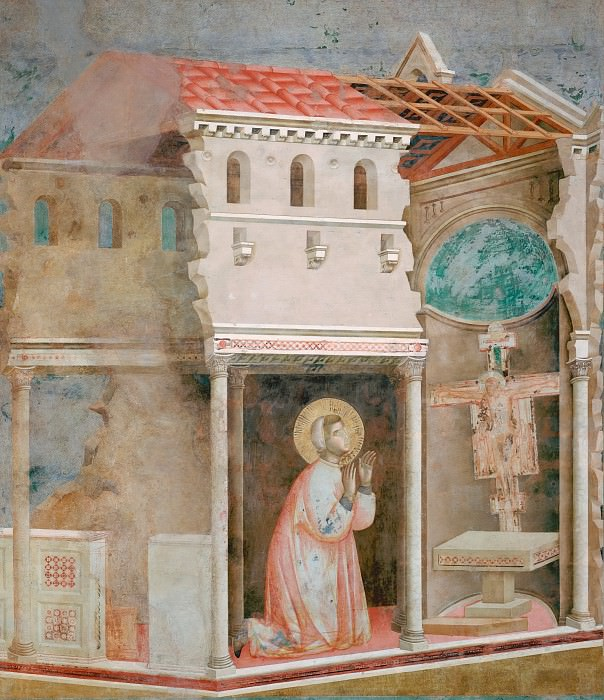 Legend of St Francis 04. Miracle of the Crucifix. Giotto di Bondone
