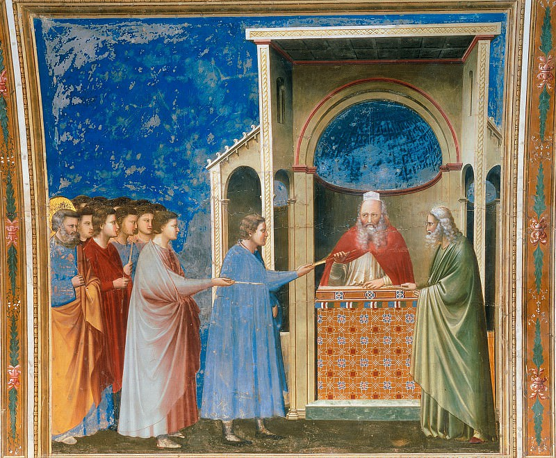 09. The Bringing of the Rods to the Temple. Giotto di Bondone