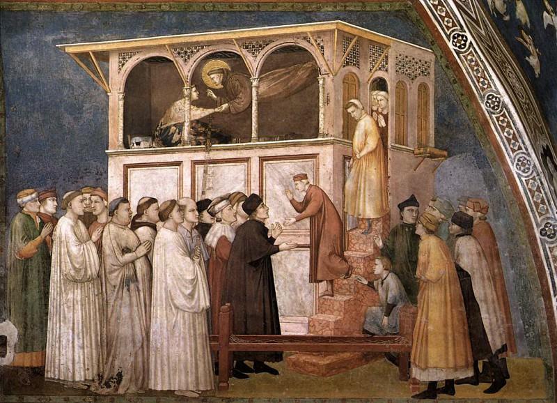 Frescoes of the north transept - Raising of the Boy in Sessa. Giotto di Bondone