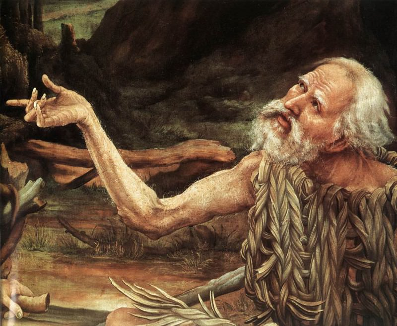 Изенгеймский алтарь. Посещение Св. Антонием Св. Павла, фрагмент - Голова Св. Павла. Маттиас Грюневальд
