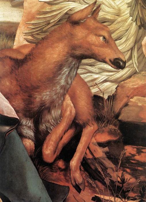 Изенгеймский алтарь, Посещение Св. Антонием Св. Павла, фрагммент - Лежащая самка оленя. Маттиас Грюневальд