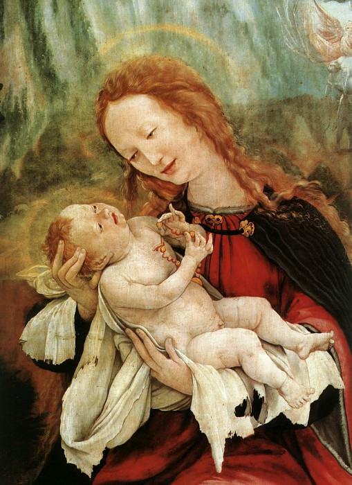 Изенгеймский алтарь, центральная часть, вторая панель, Мария с Младенцем, фрагмент. Маттиас Грюневальд