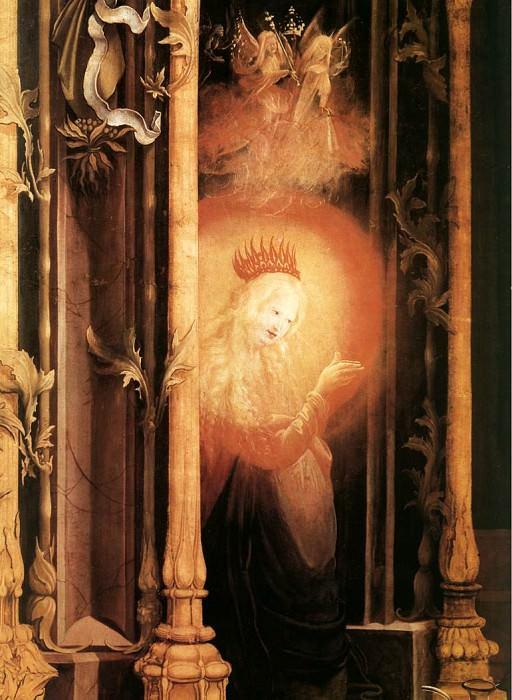 Ангельский концерт, Изенгеймский алтарь, левая половина центральной части -Очеловечивание Христа-. Маттиас Грюневальд