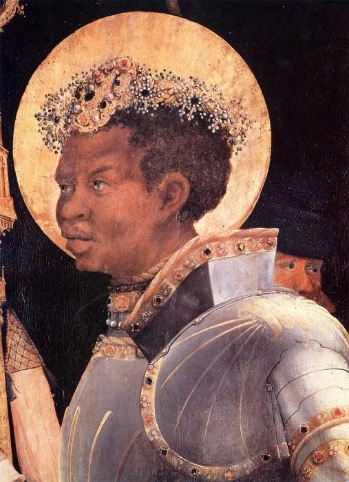 Встреча Св.Эразма и Св.Маврикия, фрагмент - Св. Маврикий. Маттиас Грюневальд