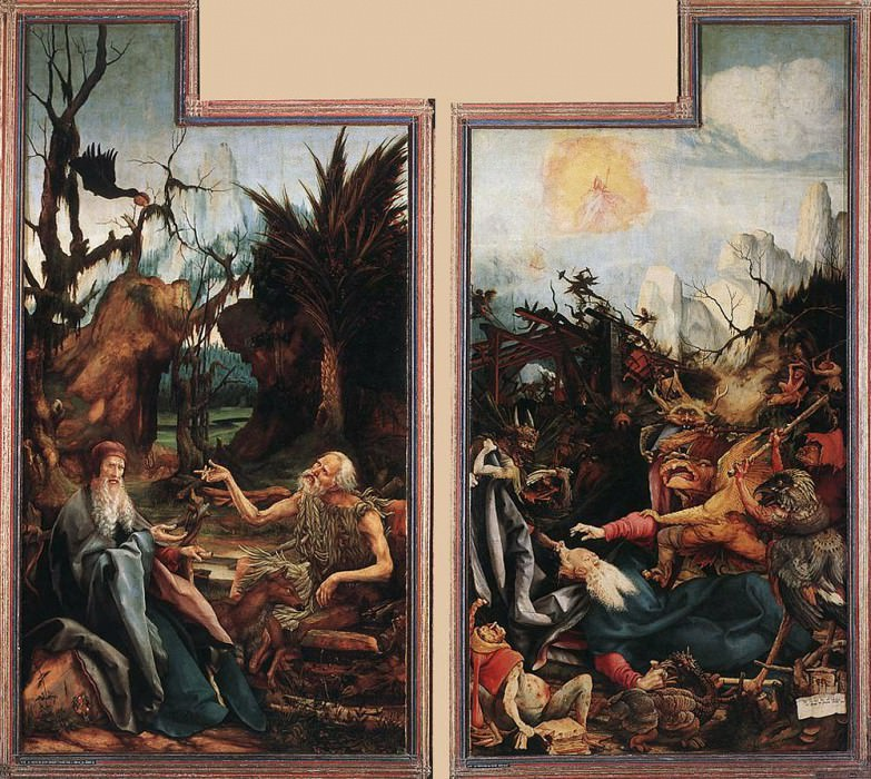 Visit of St Antony to St Paul and Temptation of St Antony WGA. Matthias Grunewald