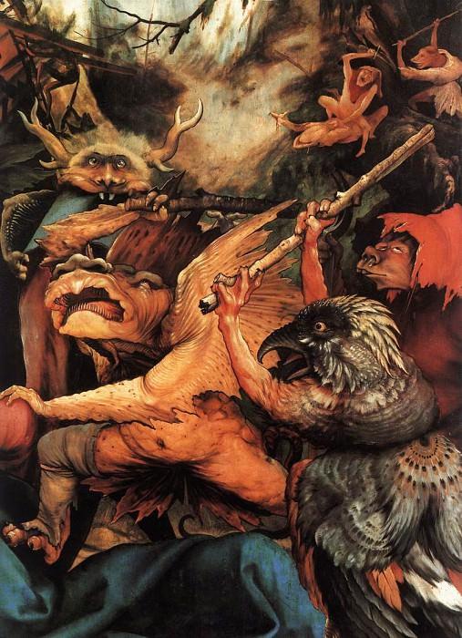Изенгеймский алтарь. Искушение Св. Антония, фрагмент - Демон, замахнувшийся палкой. Маттиас Грюневальд