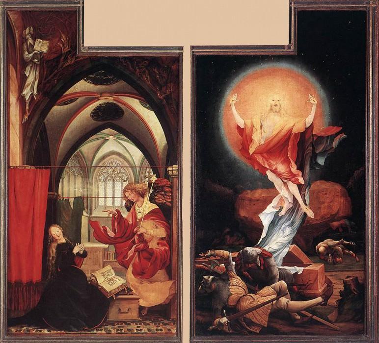 Благовещение и воскресение. Маттиас Грюневальд