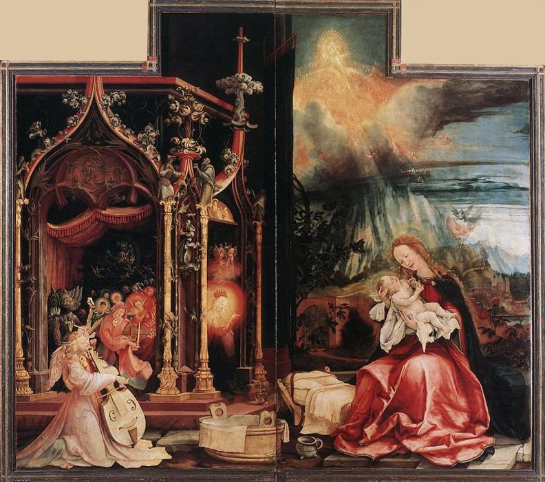 Concert of Angels and Nativity. Matthias Grunewald