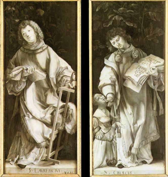 Геллеровский алтарь, створки верхнего яруса - Св. Кириак и Св. Лаврентий, ок.1512. Маттиас Грюневальд