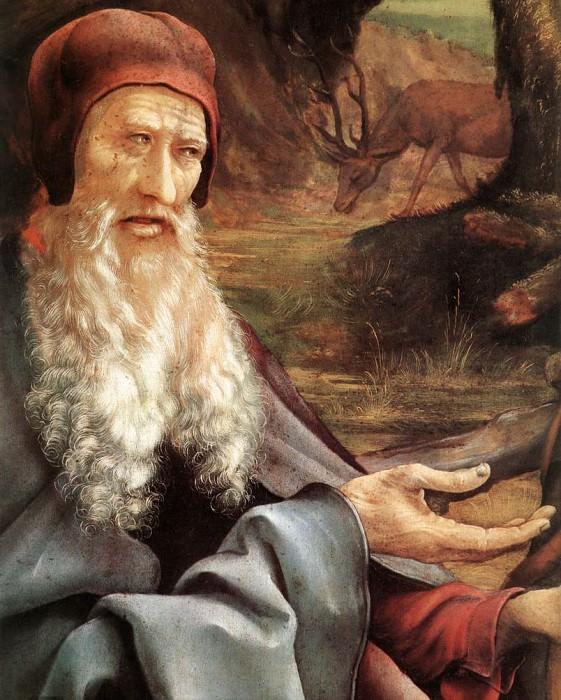 Изенгеймский алтарь. Посещение Св. Антонием Св. Павла, фрагмент - Голова Св.Антония. Маттиас Грюневальд