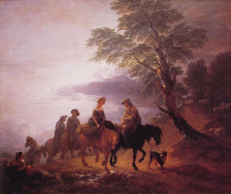 Панорамный пейзаж с крестьянами на лошадях. Томас Гейнсборо