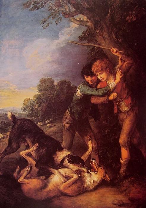 Shepherd Boys with Dogs Fighting. Thomas Gainsborough