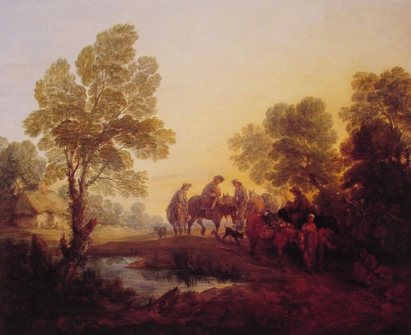 Evening Landscape-Peasants and Mounted Figures. Thomas Gainsborough