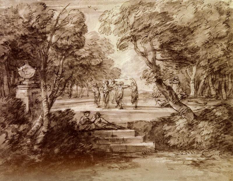 Gainsborough Thomas Dancers With Musicians In A Woodland Glade. Thomas Gainsborough