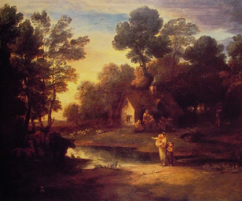 Wooded Landscape with Cattle by a Pool and a Cottage. Thomas Gainsborough
