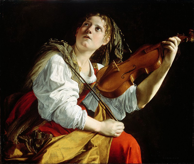 Young Woman with a Violin (possibly a portrait of his daughter Artemisia Gentileschi 1597-1651 interpreted as the personification of St. Cecilia)]. Orazio Gentileschi