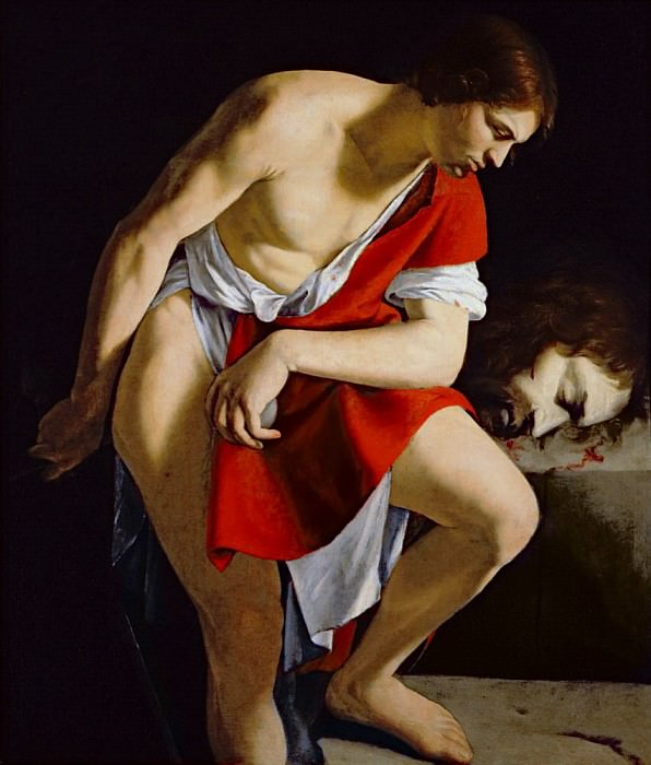 David contemplating the head of Goliath. Orazio Gentileschi