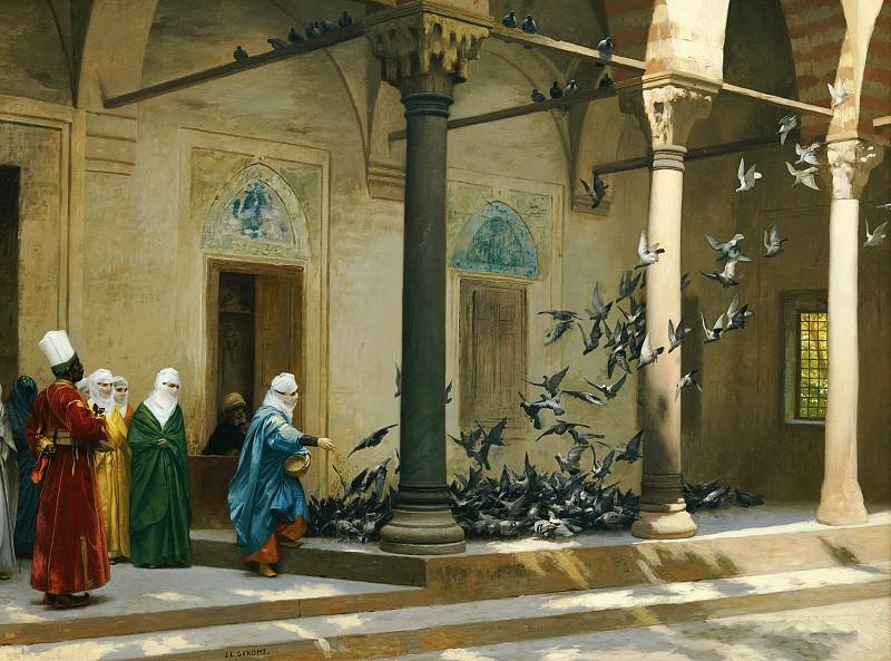 Женщины гарема, кормящие голубей. Жан-Леон Жером
