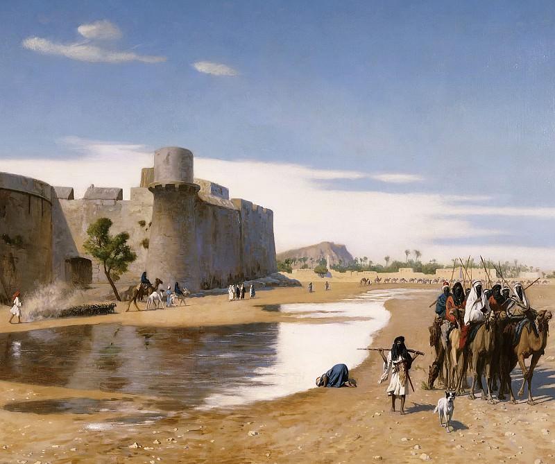 An Arab Caravan outside a Fortified Town Egypt. Jean-Léon Gérôme