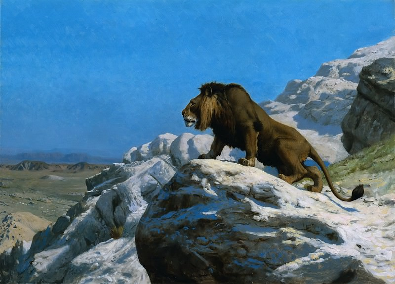 Title Lion on the Watch. Jean-Léon Gérôme