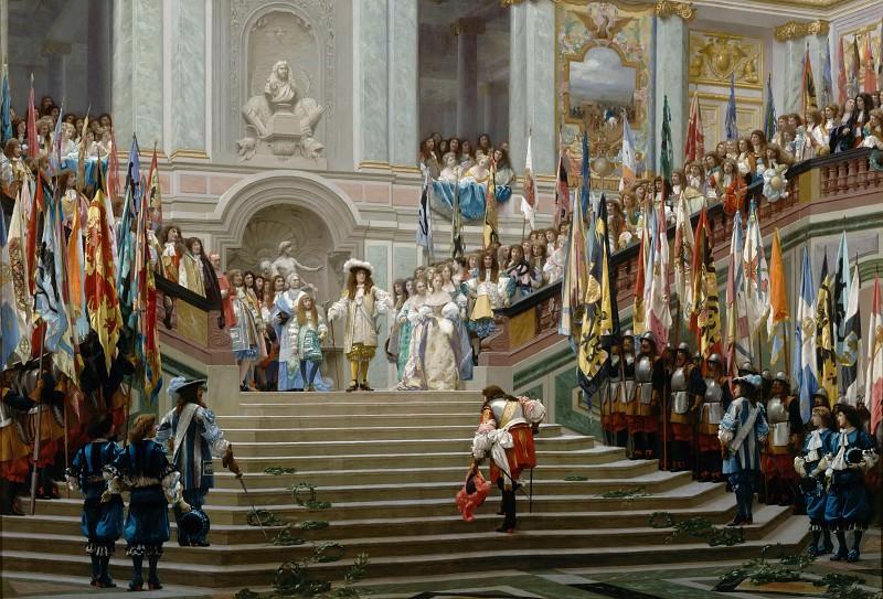 Прием принца Конде Людовиком XIV в Версале в 1674 году. Жан-Леон Жером