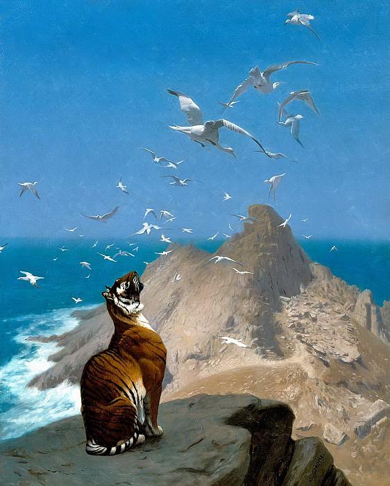 Tiger Observing Cranes. Jean-Léon Gérôme