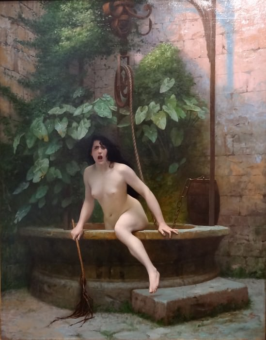 Truth coming out of her well to shame mankind (La Vérité sortant du puits armée de son martinet pour châtier l'humanité). Jean-Léon Gérôme