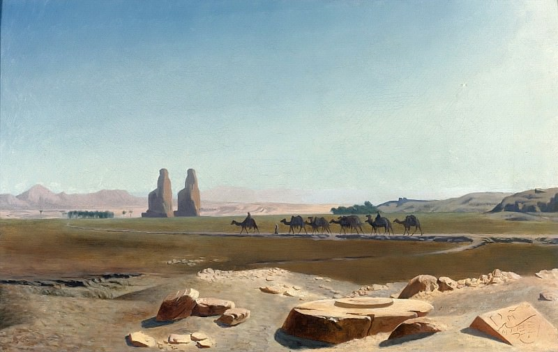 CARAVAN PASSING THE COLOSSI OF MEMNON. Jean-Léon Gérôme
