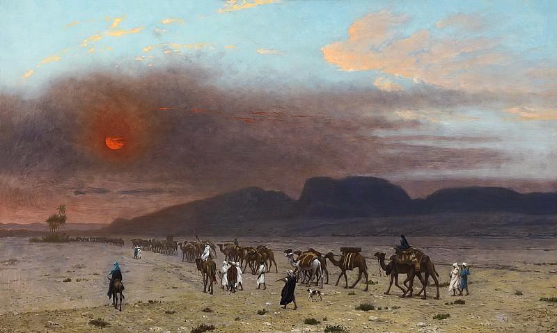 CARAVANE DANS LE DESERT. Jean-Léon Gérôme