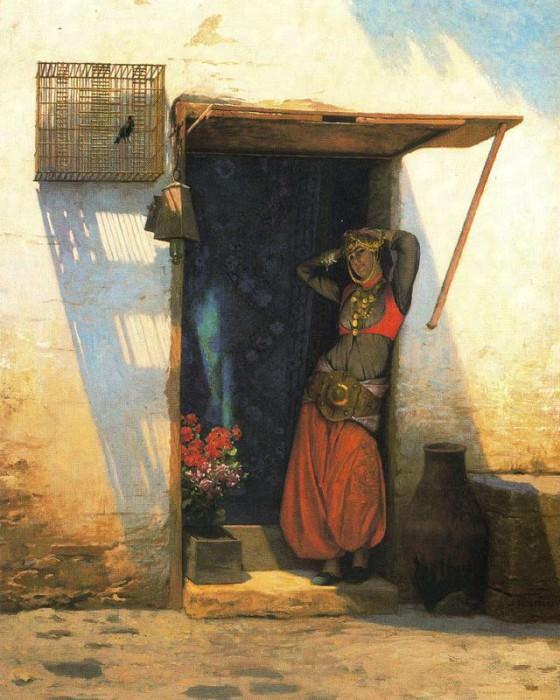 Woman from Cairo at Her Door. Jean-Léon Gérôme