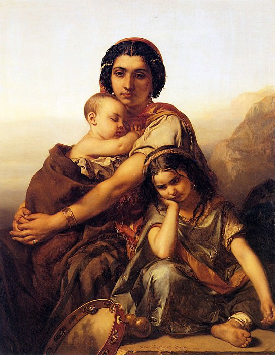 Gallait Louis A gypsy with two children Sun. Луи Галле