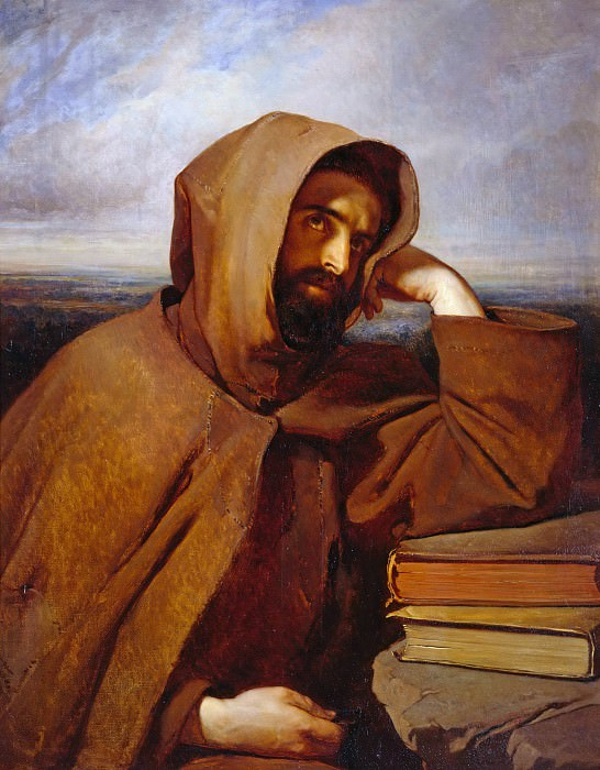 Meditating Capuchin. Louis Gallait