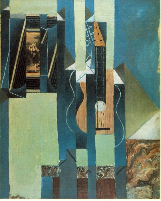The guitar, 1913, Oil and papier colle on canvas, 61x50. Juan Gris