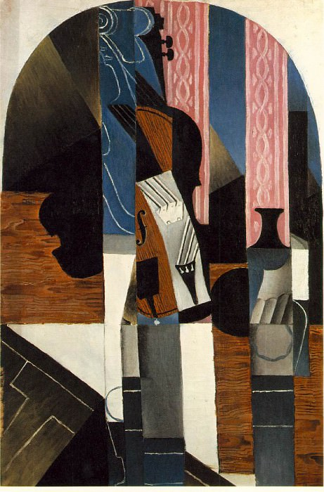 Gris Untitled (Violin and ink bottle on a table), 1913, 89.5. Juan Gris