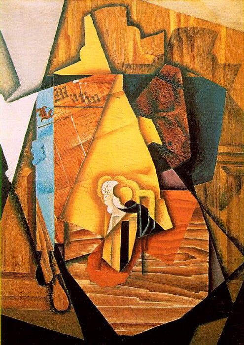Gris A man in a cafe, 1914, 99x72 cm, Acquavella Galleries,. Juan Gris