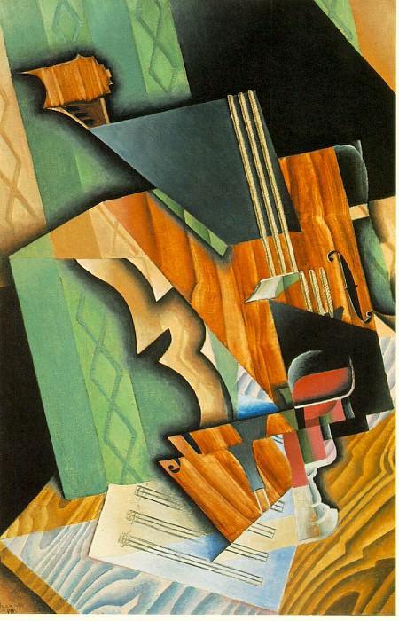 Gris Violin and glass, 1915, 92x60 cm, Fogg Art Museum, Harv. Juan Gris