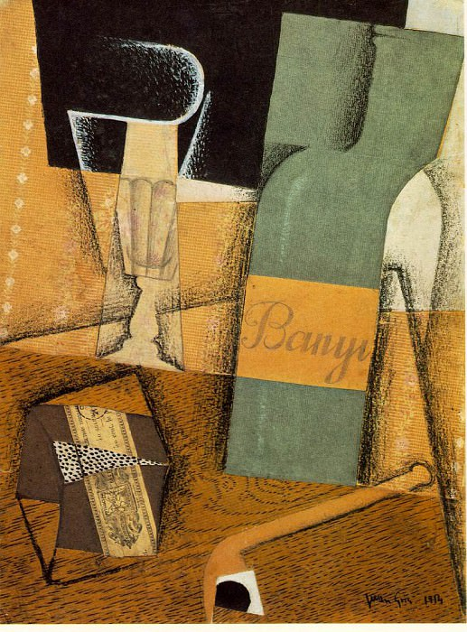 The bottle of Banyuls, 1914, Pasted papers. Juan Gris