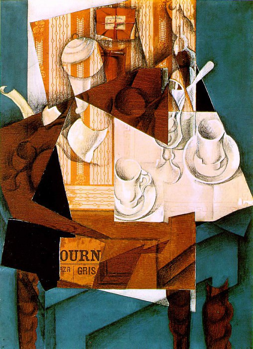 Gris Breakfast, 1914, Papier colle, crayon, and oil on canva. Juan Gris
