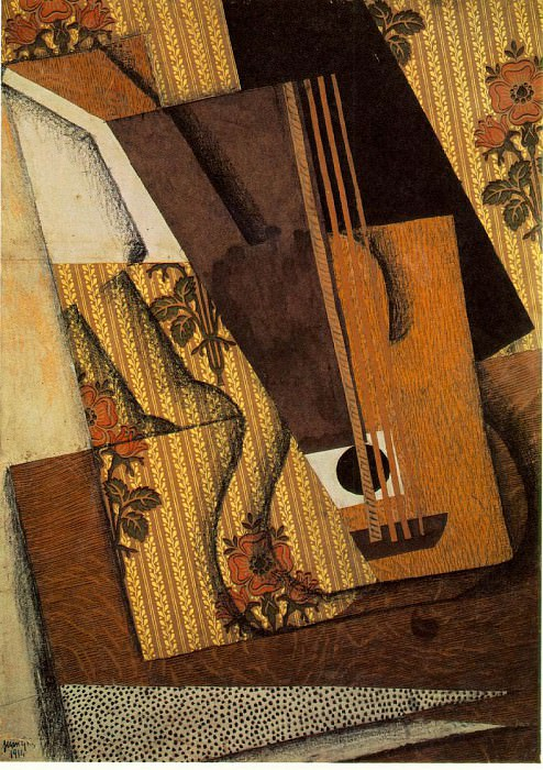 Gris The guitar, 1914, Papier colle, gouache, fusain, and pe. Juan Gris