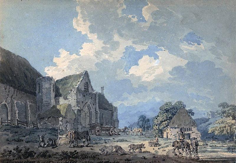 Десятинный амбар в Абботсбери с аббатством на холме. Томас Гёртин