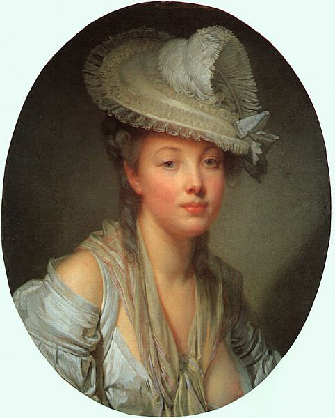 Young Woman in a White Hat. Jean-Baptiste Greuze