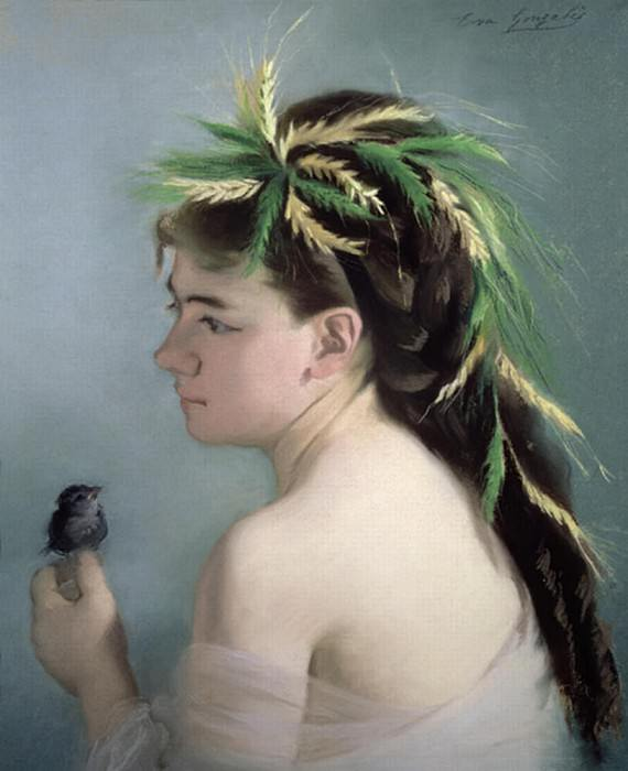 Portrait of a Girl holding a Sparrow. Eva Gonzales