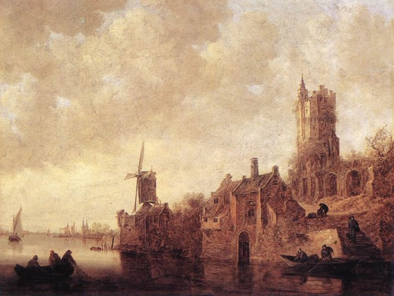 River Landscape with a Windmill and a Ruined Castle. Jan Van Goyen
