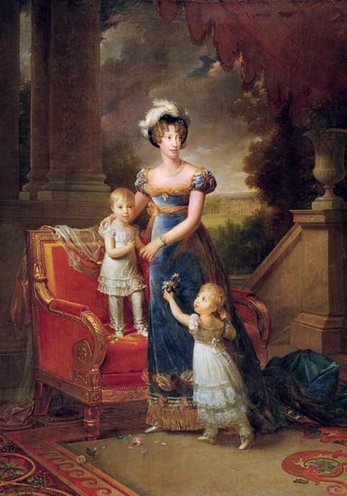 Marie-Caroline de Bourbon (1798-1870) with her Children in Front of the Chateau de Rosny. Francois Pascal Simon Gerard