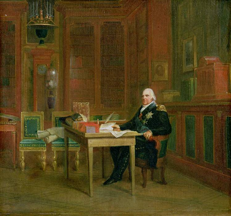 Louis XVIII (1755-1824) in his Study at the Tuileries. Francois Pascal Simon Gerard