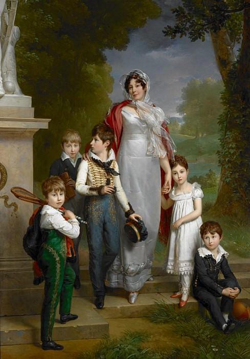 Portrait of Louise-Antoinette-Scholastique Guéhéneuc (1782-1856), Madame la Maréchale Lannes, Duchesse de Montebello, with Her Children. Francois Pascal Simon Gerard