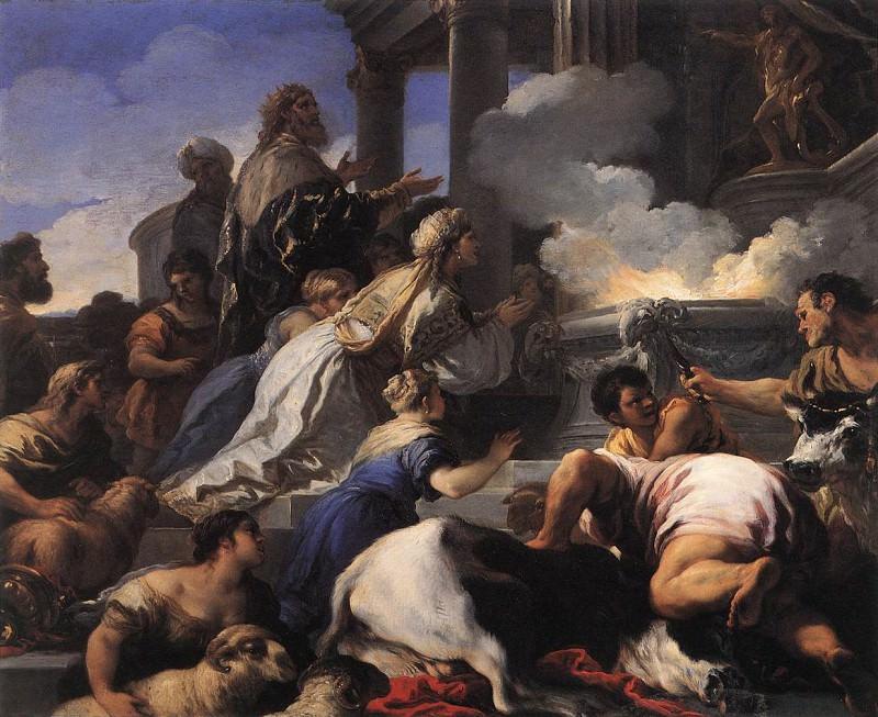 Родители Психеи, приносящие жертву Аполлону. Лука Джордано